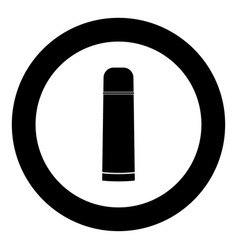 Thermos or vacuum flask black icon in circle vector