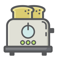 Toaster colorful line icon kitchen and appliance vector