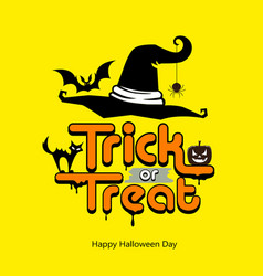 Trick or treat message hat pumpkin cat bat vector