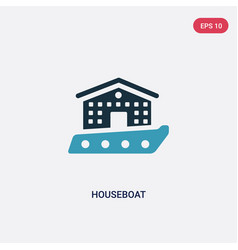 Two color houseboat icon from transportation vector
