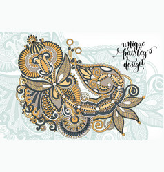 Unique flower paisley design hand drawing floral vector