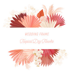 watercolor floral wedding frame pampas vector image