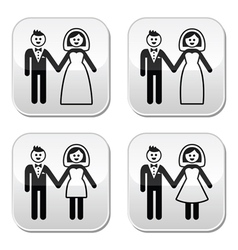 Wedding married couple bride and groom buttons set vector image