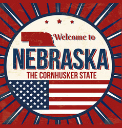 welcome to nebraska vintage grunge poster vector image