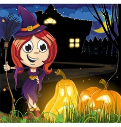 Witch girl near the haunted house vector image