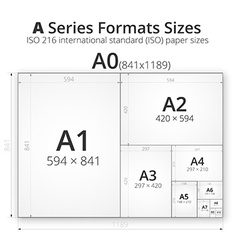 With paper size of format vector