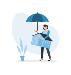Woman holds umbrella protects his home from vector