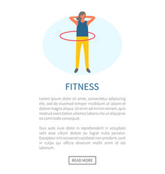 woman rotates hulahup fitness exercise and sport vector image