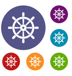 Wooden ship wheel icons set vector