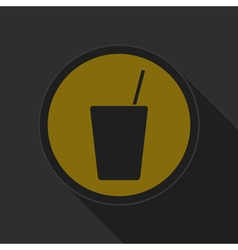 Yellow round button drink with straw - black icon vector