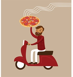 Young courier deliver hot pizza vector image