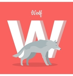 Animals Alphabet Letter - W vector image