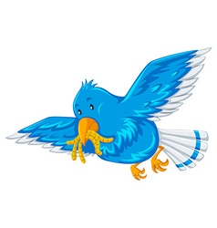 Blue bird with worms in its mouth vector image