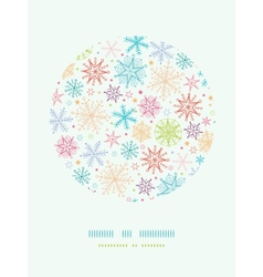 Colorful Doodle Snowflakes Circle Frame Seamless vector image