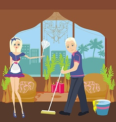Couple cleaning home vector
