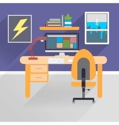 Flat workspace vector image vector image