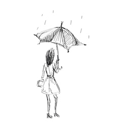 girl holding umbrella vector image