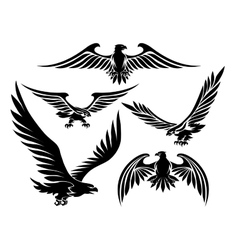 Heraldic eagle icons vector image vector image