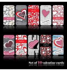 Set of ten valentine cards vector image