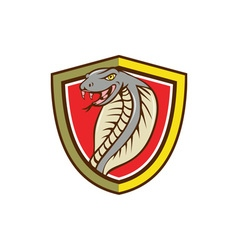 Cobra viper snake head attacking shield cartoon vector