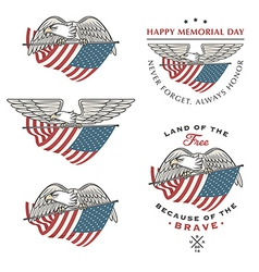 Eagle flying with American flag vector image