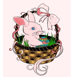 Pink Easter bunny sitting in a wicker basket vector image