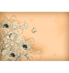 Watercolor Pencil Drawing Flowers Butterfly vector image