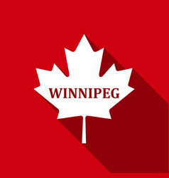 canadian maple leaf with city name winnipeg flat vector image vector image