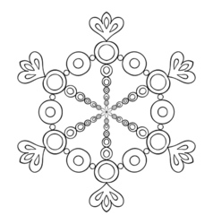 paper cutout snow flake in zentangle style doodle vector image