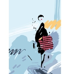Stylish woman with bag on the abstract background vector image vector image