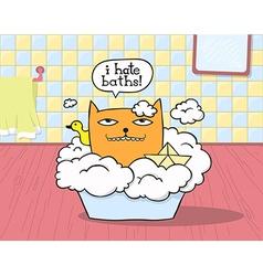 Cat hates bath vector
