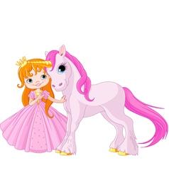 Cute Princess and Unicorn vector image vector image