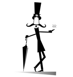 funny gentleman in the top hat smokes a cigar isol vector image