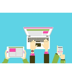Gadgets with hands flat design vector image vector image