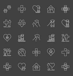 pet and veterinary line icons vector image
