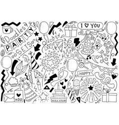0006 hand drawn party doodle happy birthday vector