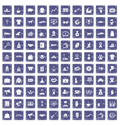 100 charity icons set grunge sapphire vector