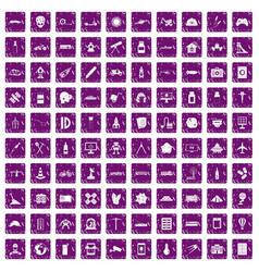 100 development icons set grunge purple vector image