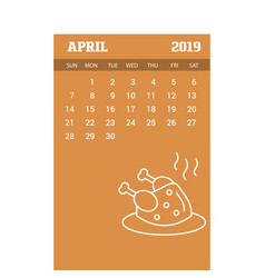 2019 happy new year april calendar template vector image