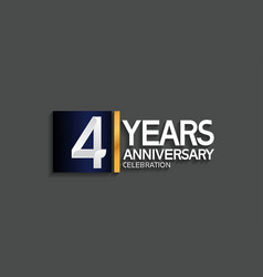 4 years anniversary logotype with blue and silver vector