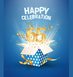 65 th years anniversary and open gift box with vector