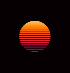 80s retro sunset vector