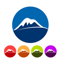 Abstract snowy summit mountain icons vector