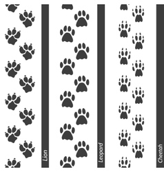 Animal footprints seamless border set vector