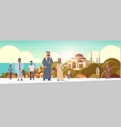 Arabic people walking outdoor arab men wearing vector