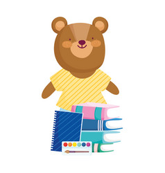 back to school bear books notepad palette color vector image
