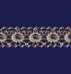 Baroque 3d flowers seamless border floral vector
