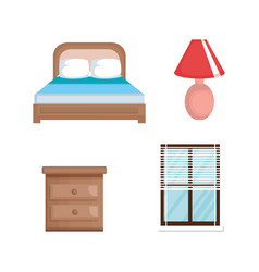 bed room set icons vector image