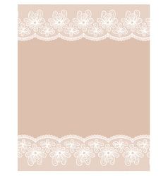 Beige background with two white lacy flower border vector image
