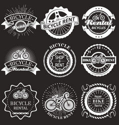 bicycle rental vintage badges labels vector image